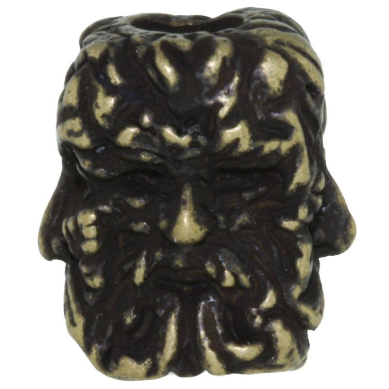 Green Man Bead in Roman Brass Oxide Finish by Schmuckatelli Co.