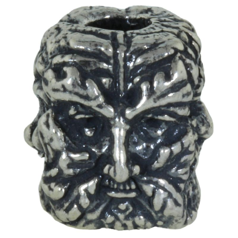 Green Man Bead in Solid .925 Sterling Silver by Schmuckatelli Co.