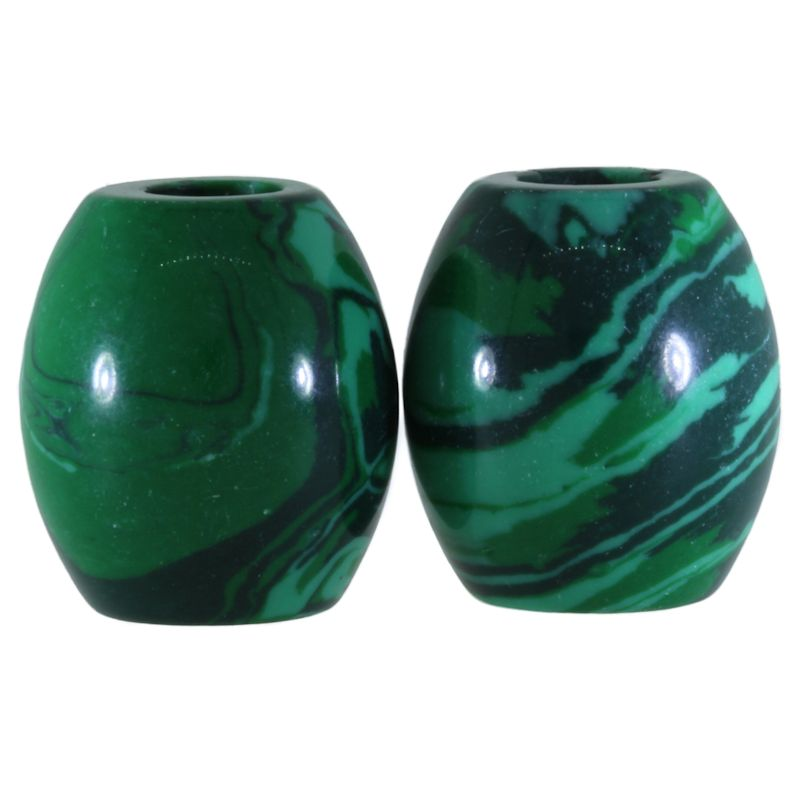 Green Malachite Gemstone Beads (Set of 2 Beads)