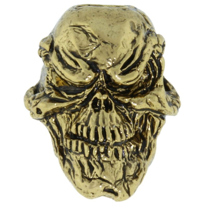 Grins Skull Bead in 18K Antique Gold Finish by Schmuckatelli Co.