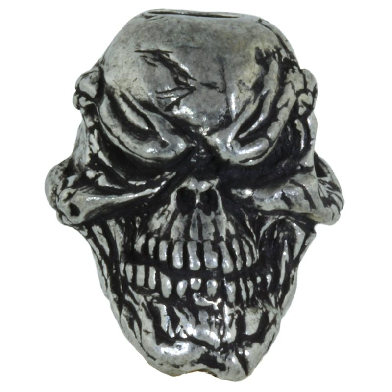 Grins Skull Bead in Pewter by Schmuckatelli Co.