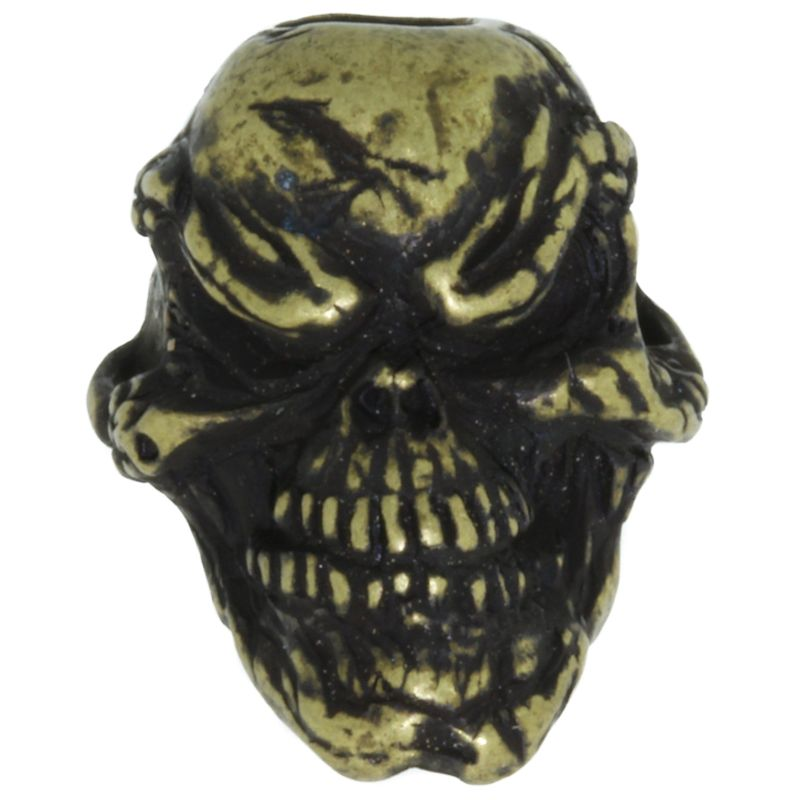 Grins Skull Bead in Roman Brass Oxide Finish by Schmuckatelli Co.