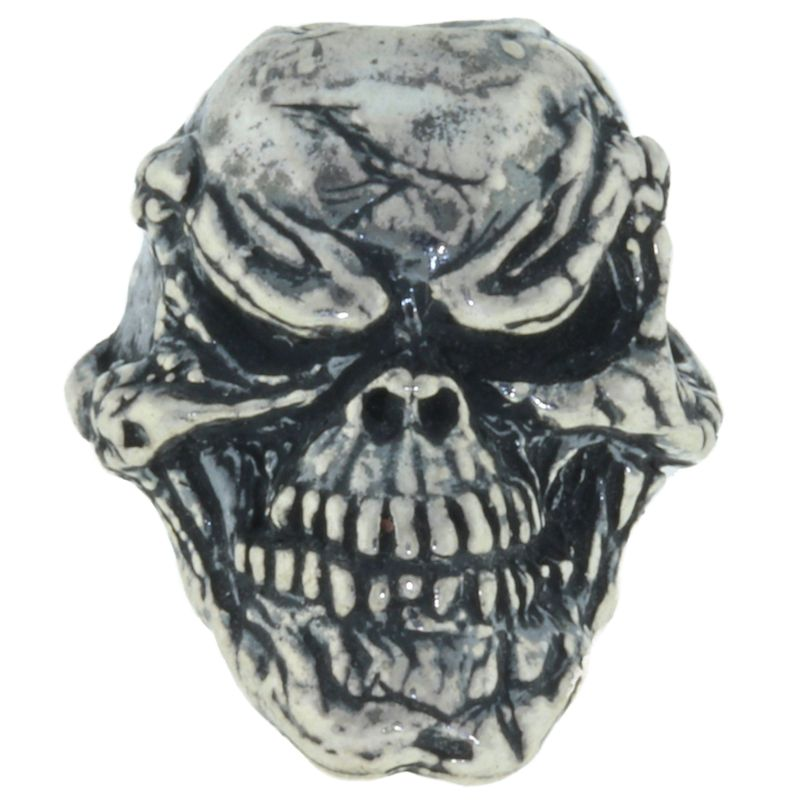 Grins Skull Bead in Solid .925 Sterling Silver by Schmuckatelli Co.