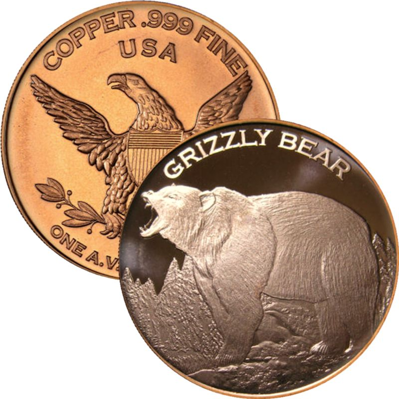 Grizzly Bear (Private Mint) 1 oz .999 Pure Copper Round