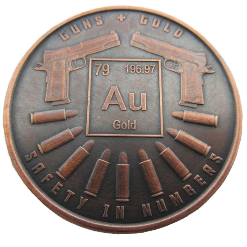 Guns And Gold 1 oz .999 Pure Copper Round (Black Patina)