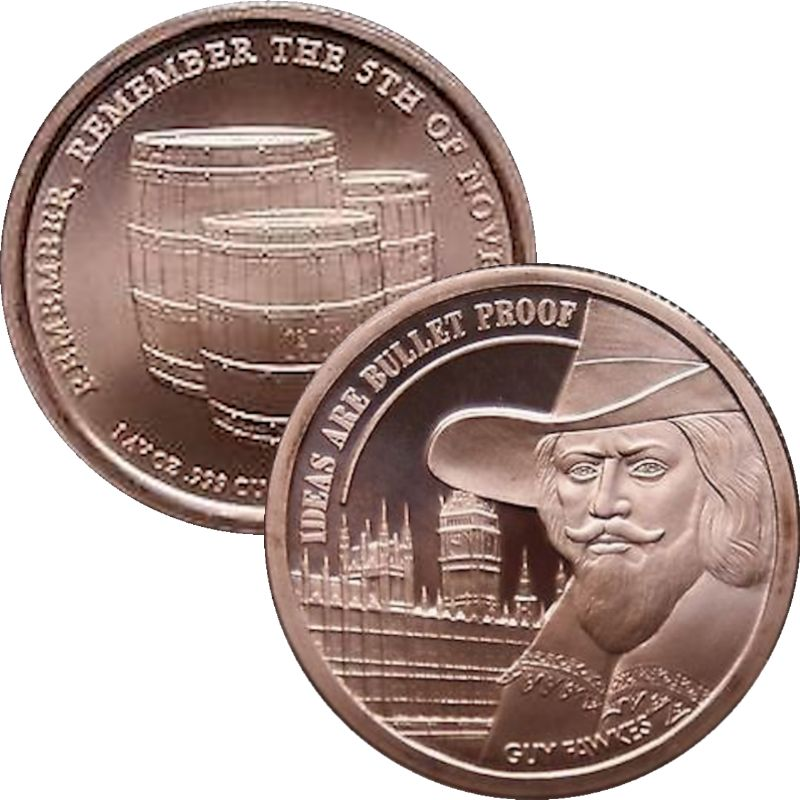 Guy Fawkes - Ideas Are Bullet Proof (AOCS) 1 oz .999 Pure Copper Round