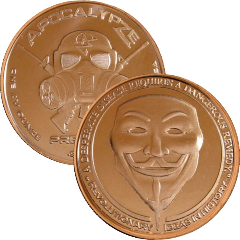 Guy Fawkes Mask 1 oz .999 Pure Copper Round (2nd Design of the ApocalypZe Series)