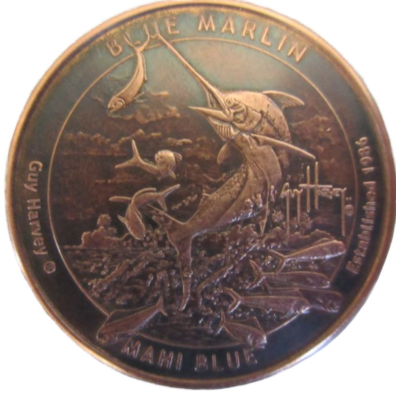 Guy Harvey (2015) 1 oz .999 Pure Copper Round (Black Patina)