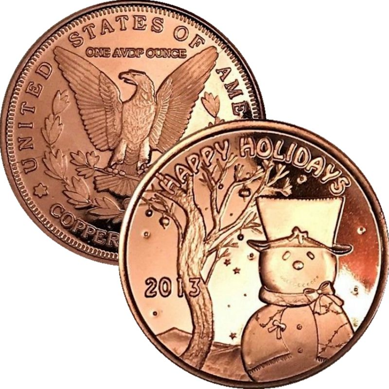 Happy Holidays Snowman 2013 (Sunshine Mint) 1 oz .999 Pure Copper Rounds