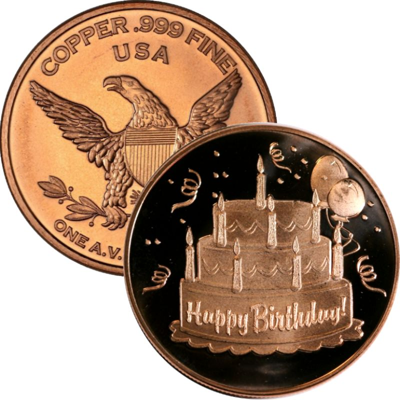 Happy Birthday 1 oz .999 Pure Copper Round