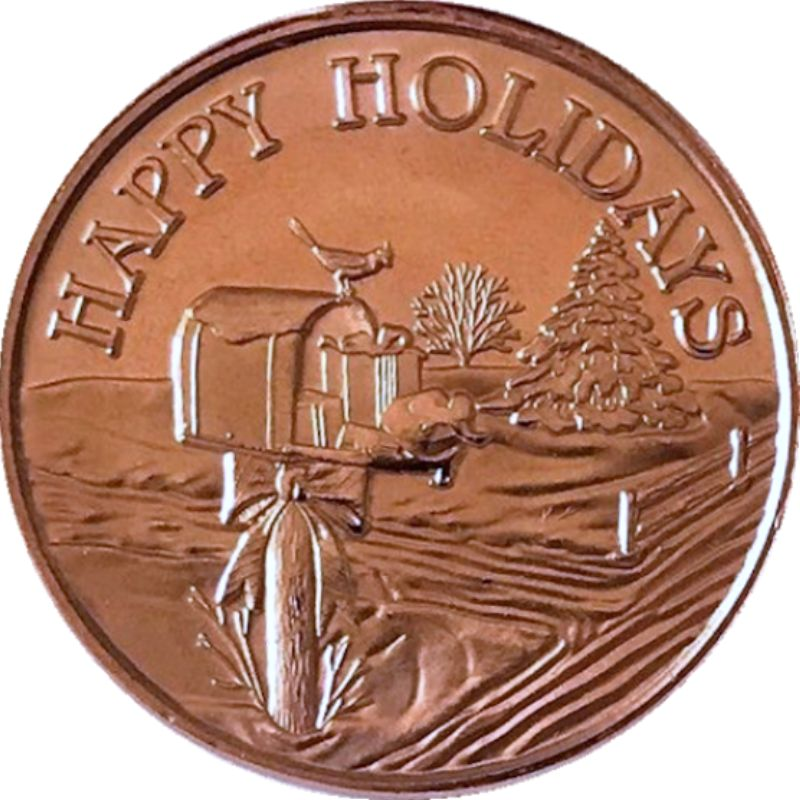 Happy Holidays Mailbox (Sunshine Mint) 1 oz .999 Pure Copper Rounds