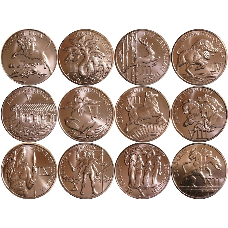 Complete Set of 12 Labors of Hercules Series 1 oz .999 Pure Copper Rounds
