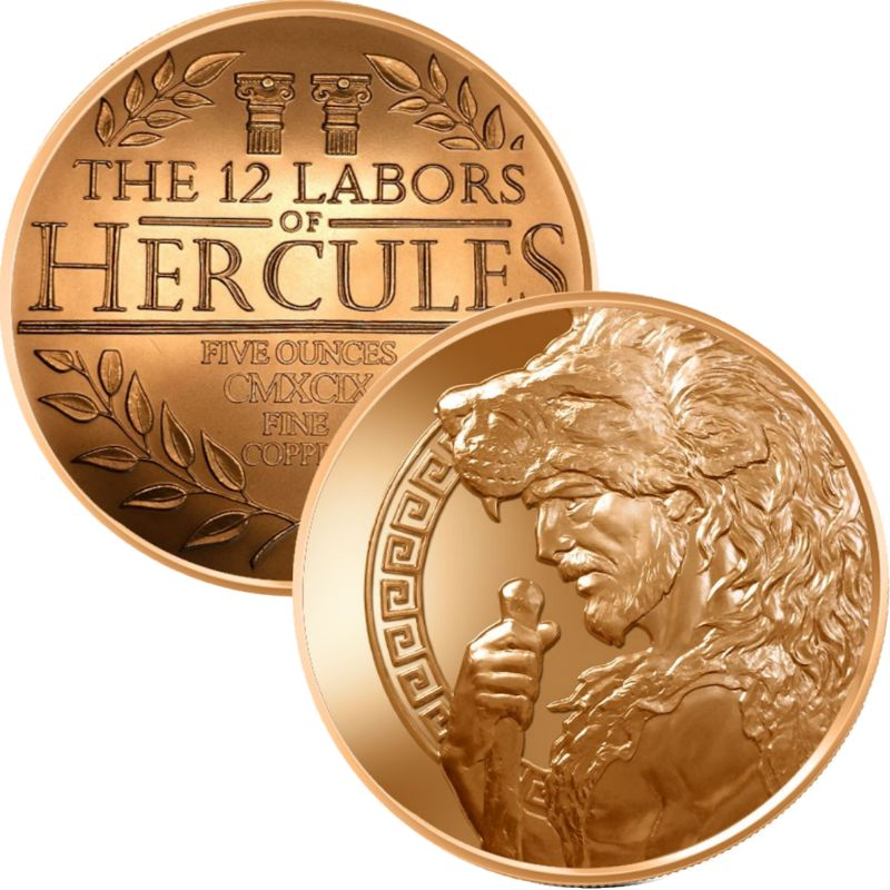 Hercules Design 5 oz .999 Pure Copper Round