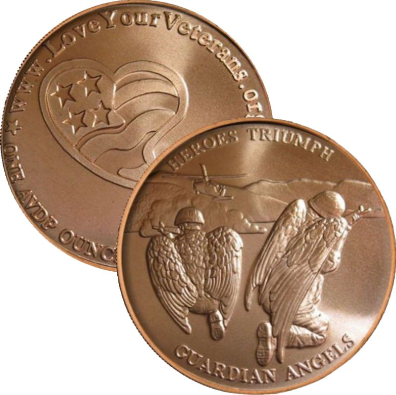 Heroes Triumph Guardian Angels 1 oz .999 Pure Copper Round