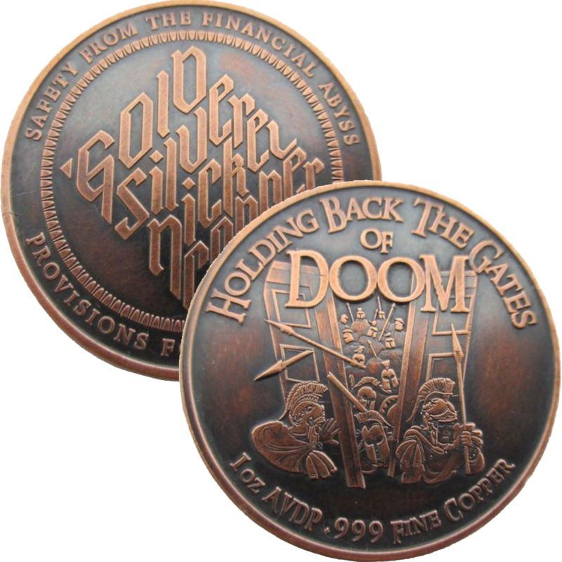 Holding Back The Gates Of Doom 1 oz .999 Pure Copper Round (Black Patina)