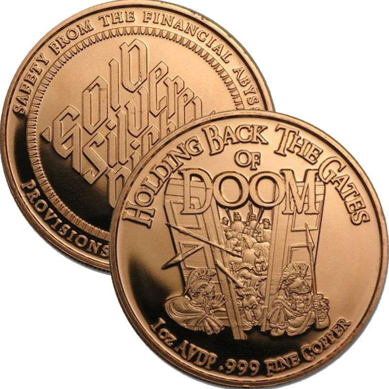Holding Back The Gates Of Doom 1 oz .999 Pure Copper Round