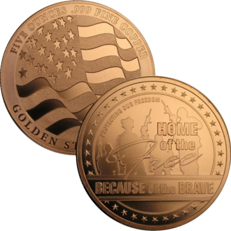 Home Of The Free Design 5 oz .999 Pure Copper Round