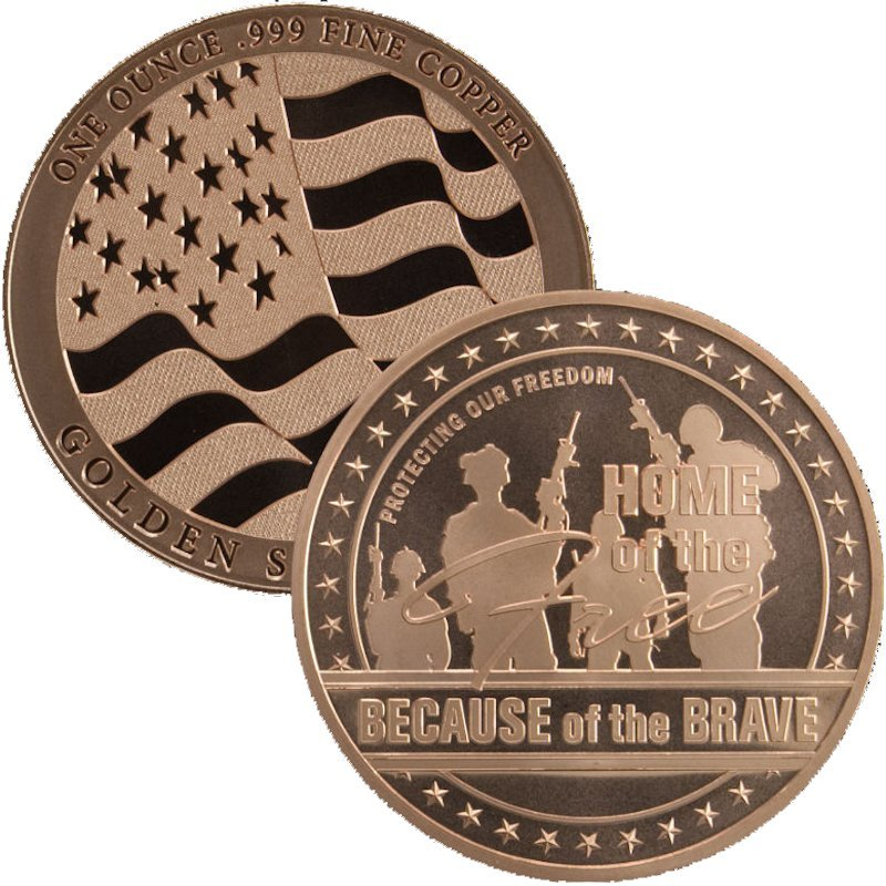 Home Of The Free 1 oz .999 Pure Copper Round (Golden State Mint)