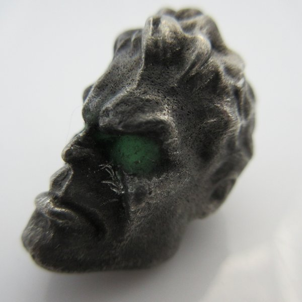 Hulk Bead With Green Glow In The Dark Eyes in Pewter by Marco Magallona