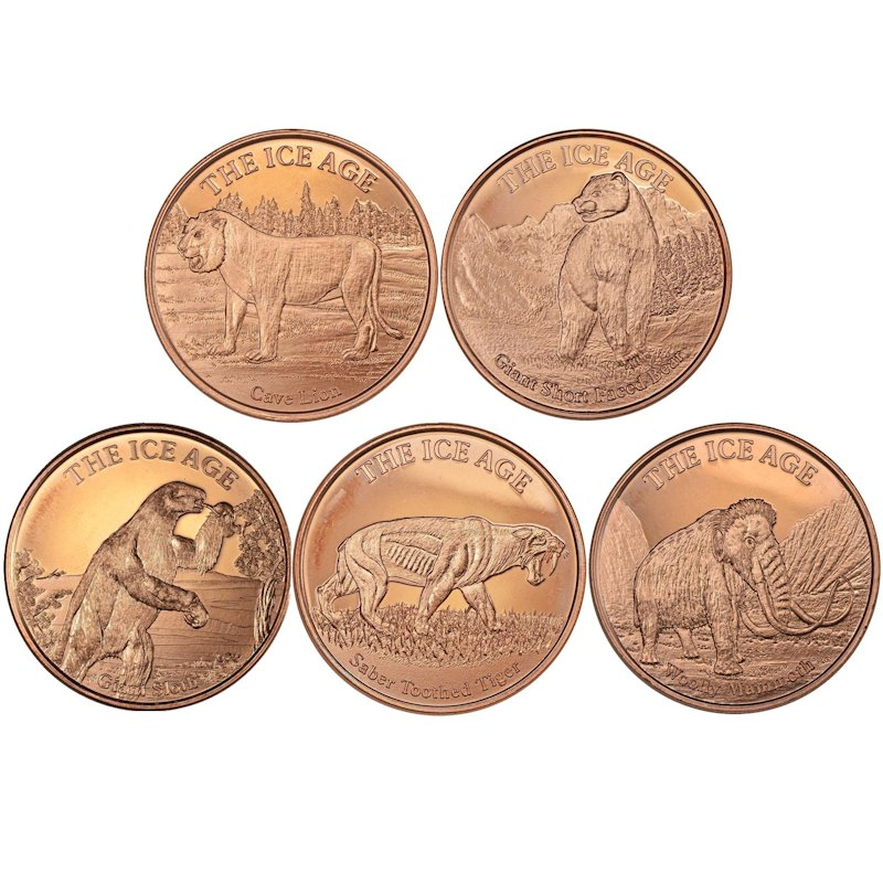 Complete Set of (5) Different Ice Age Designs 1 oz .999 Pure Copper Rounds