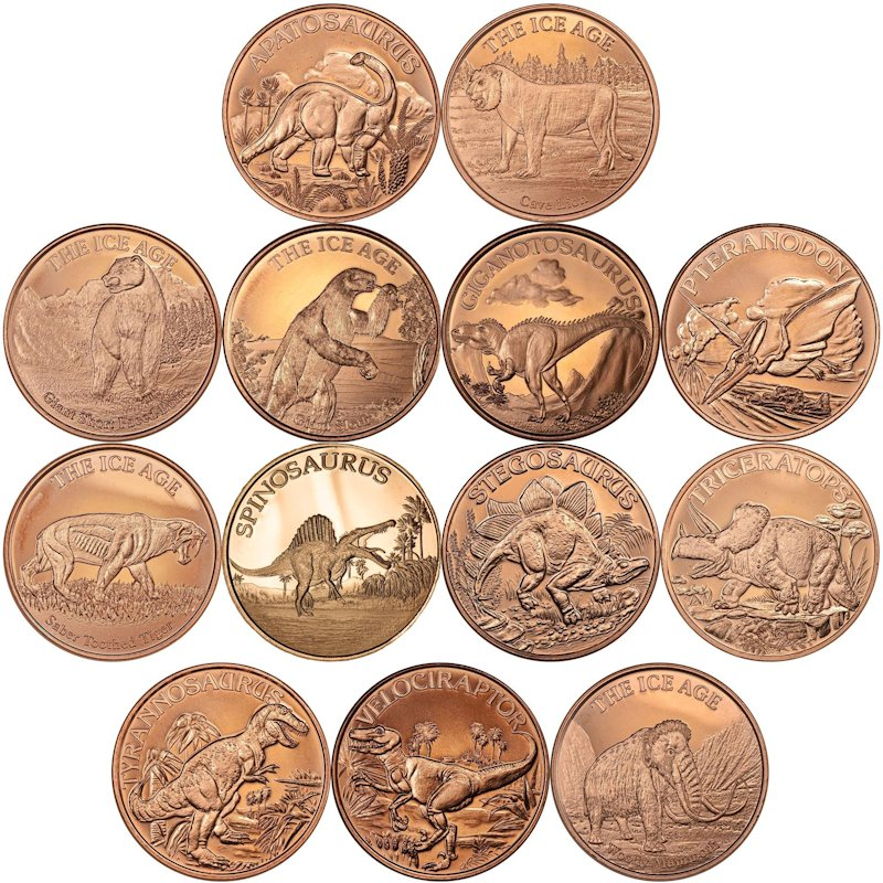 Complete Set of All (13) Different Dinosaur & Ice Age Designs 1 oz .999 Pure Copper Rounds