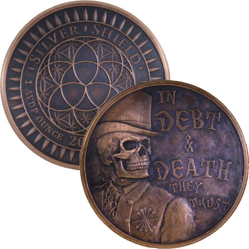 In Debt & Death #23 (2017 Silver Shield Mini Mintage) 1 oz .999 Pure Copper Round (Black Patina)