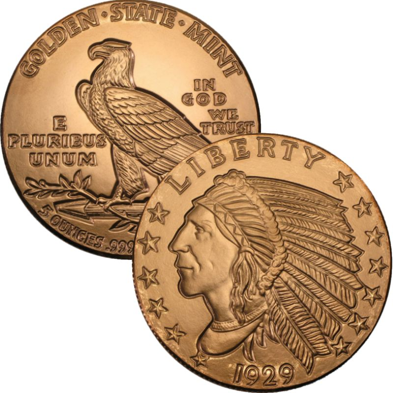 Incuse Indian Design 5 oz .999 Pure Copper Round