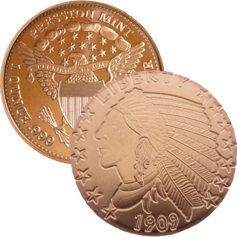 Incuse Indian 1 oz .999 Pure Copper Round (Presston Mint)