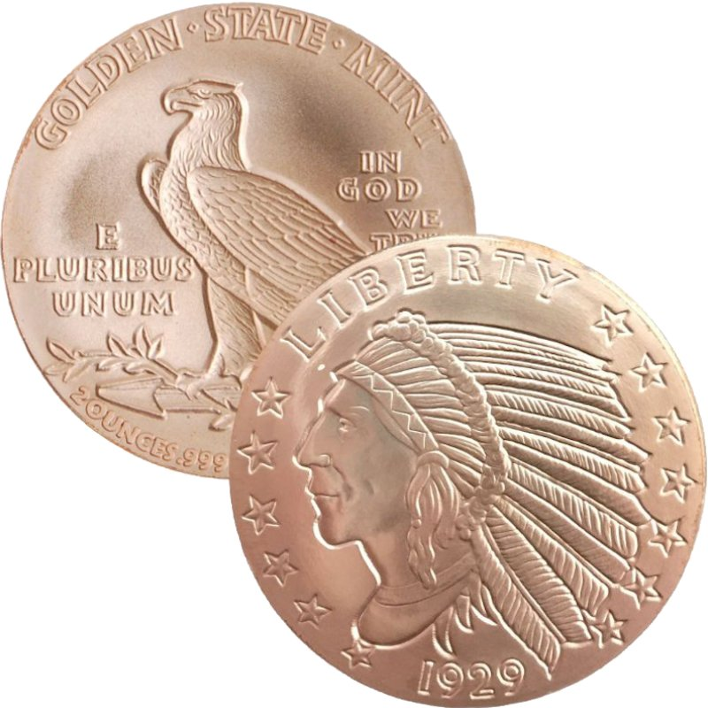 Incuse Indian Design 2 oz .999 Pure Copper Round
