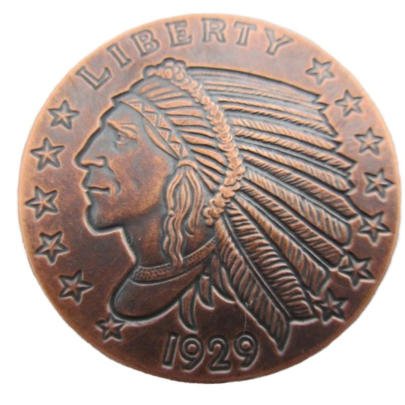 Incuse Indian 1 oz .999 Pure Copper Round (Black Patina) (Golden State Mint)
