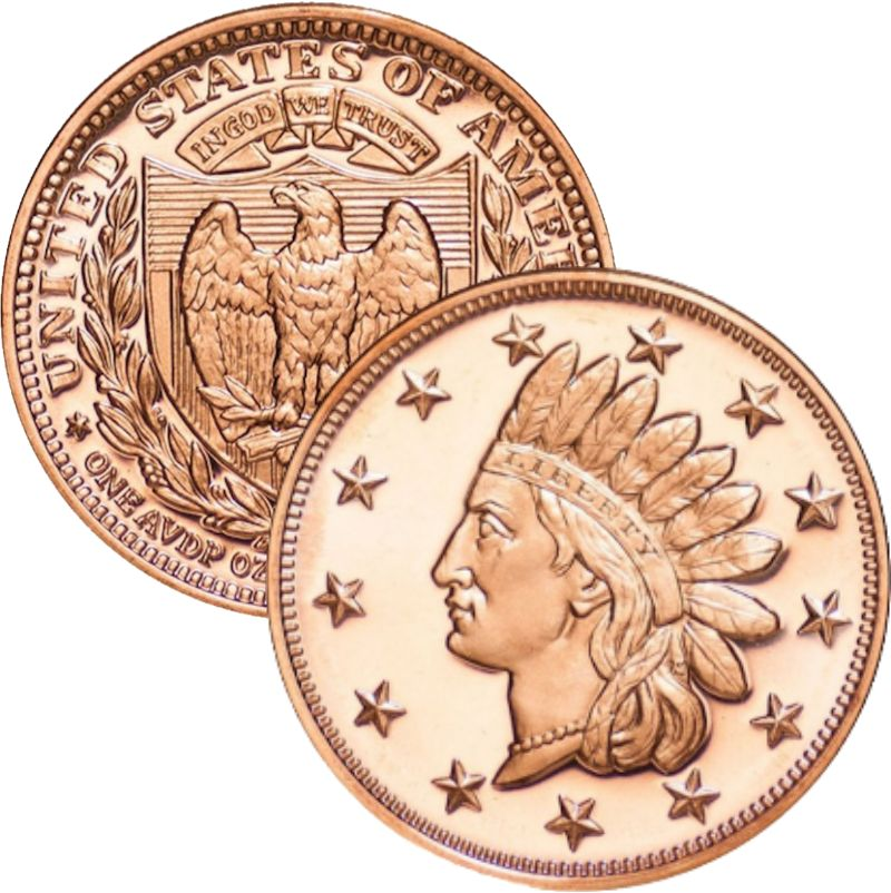 Indian Head Penny 1 oz .999 Pure Copper Round