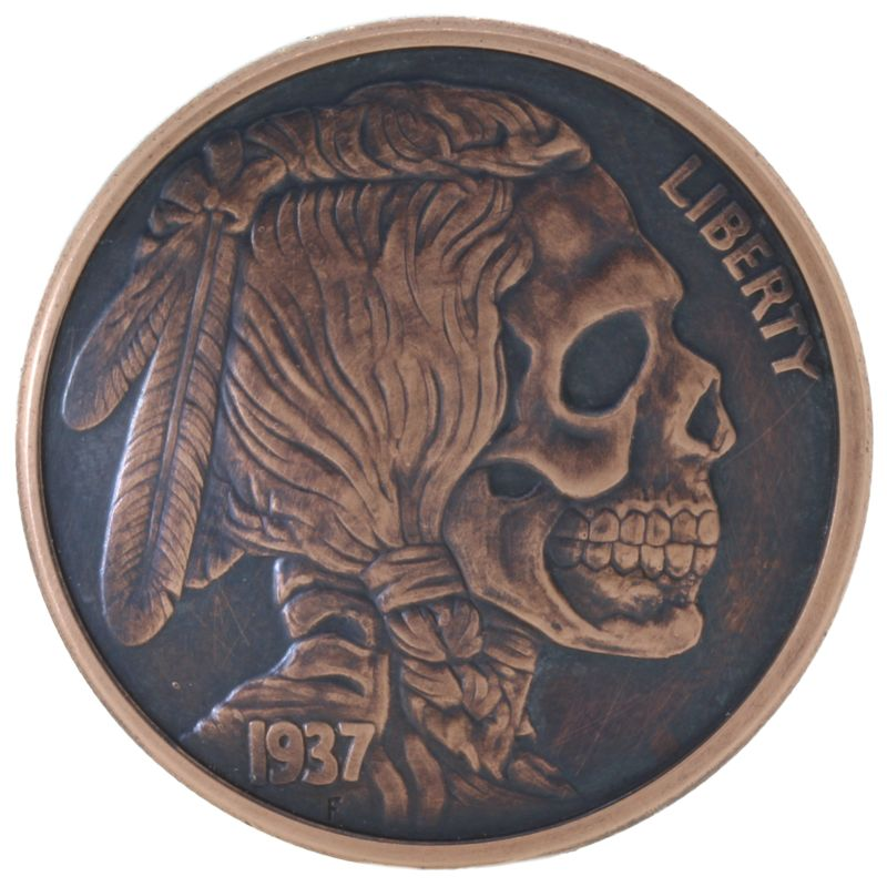 Indian Skull 1 oz .999 Pure Copper Round (Black Patina)