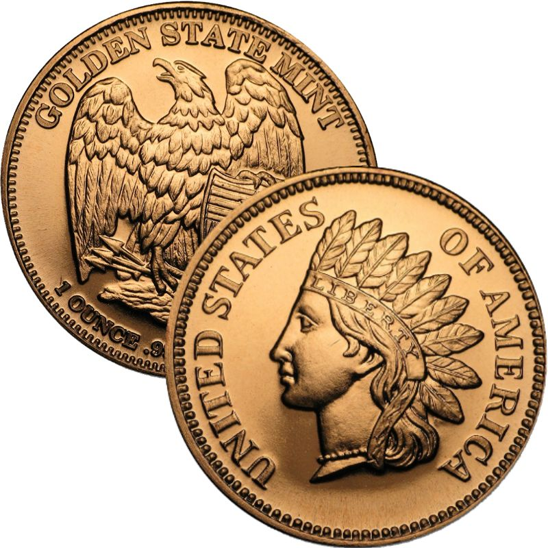 Indian Head Cent Design 1 oz .999 Pure Copper Round (Golden State Mint)