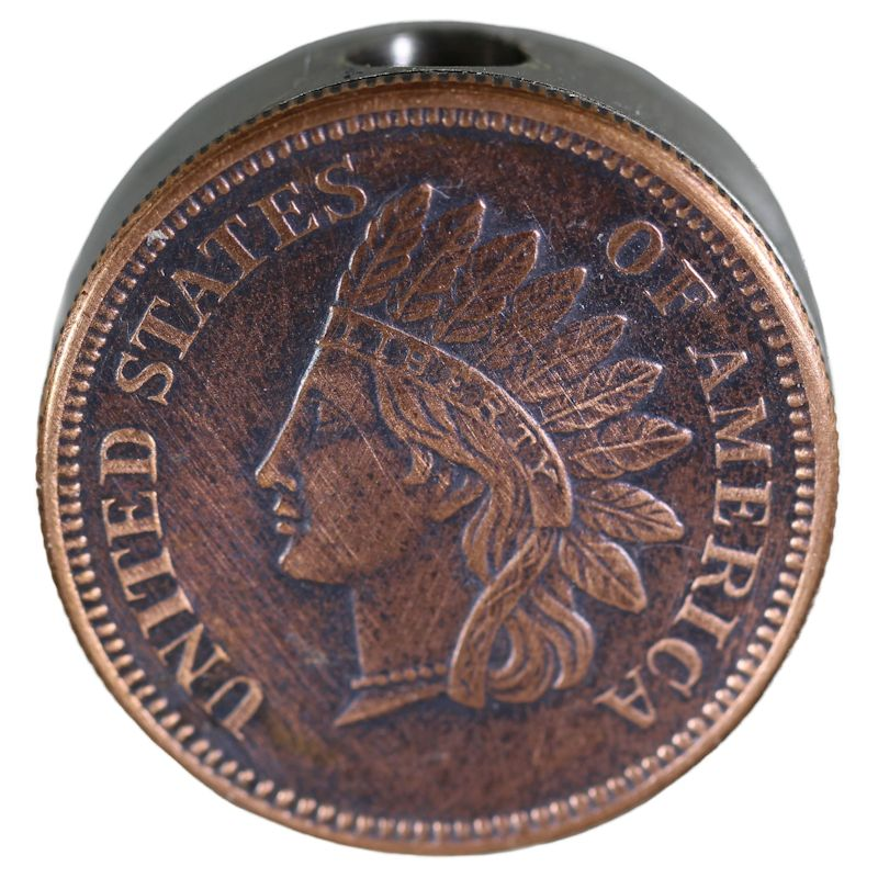 Indian Head Penny Design In Copper (Black Patina) Stainless Steel Core Lanyard Bead By Barter Wear