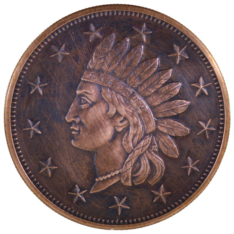 Indian Head Penny 1 oz .999 Pure Copper Round (Presston Mint) (Black Patina)