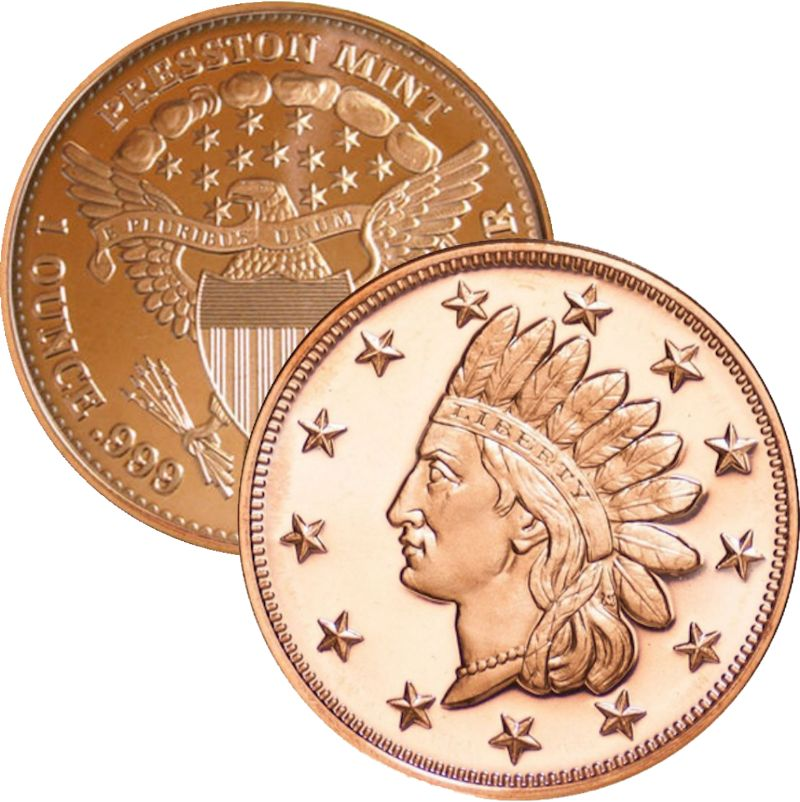 Indian Head Penny 1 oz .999 Pure Copper Round (Presston Mint)