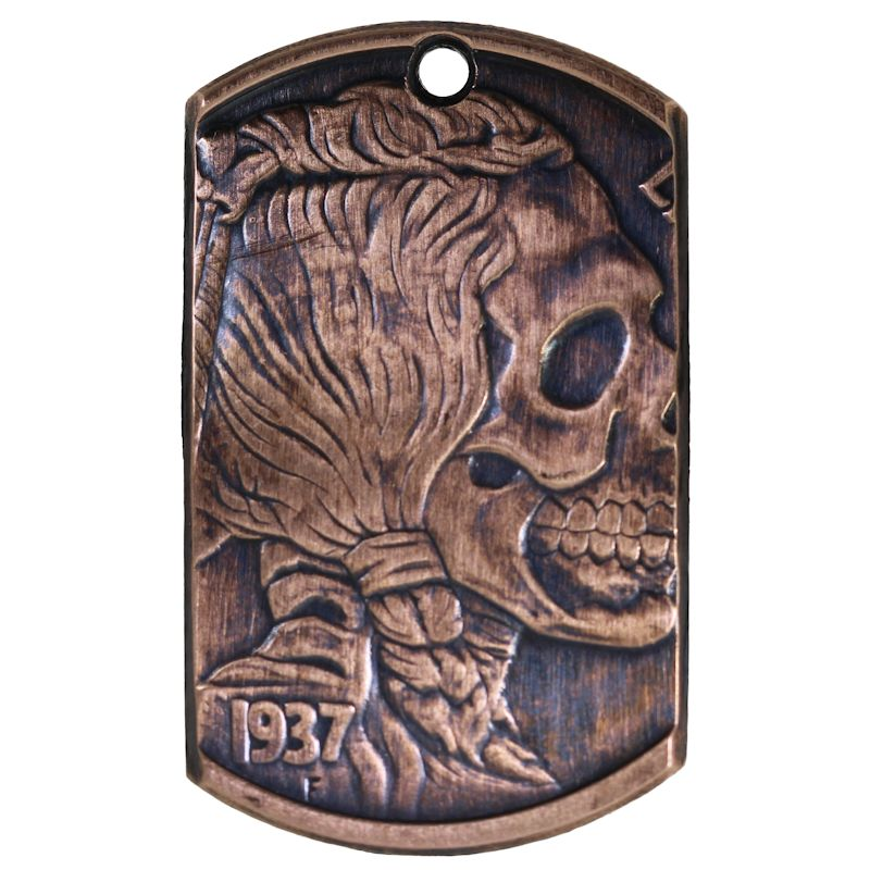 Indian Skull Copper Dog Tag Necklace