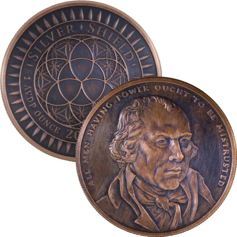 James Madison #42 (2017 Silver Shield Mini Mintage) 1 oz .999 Pure Copper Round (Black Patina)