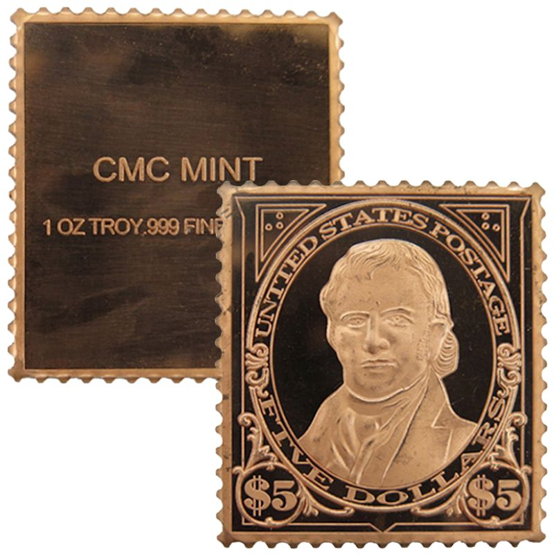 John Marshall Bureau $5 Stamp Design 1 oz .999 Fine Copper Bar