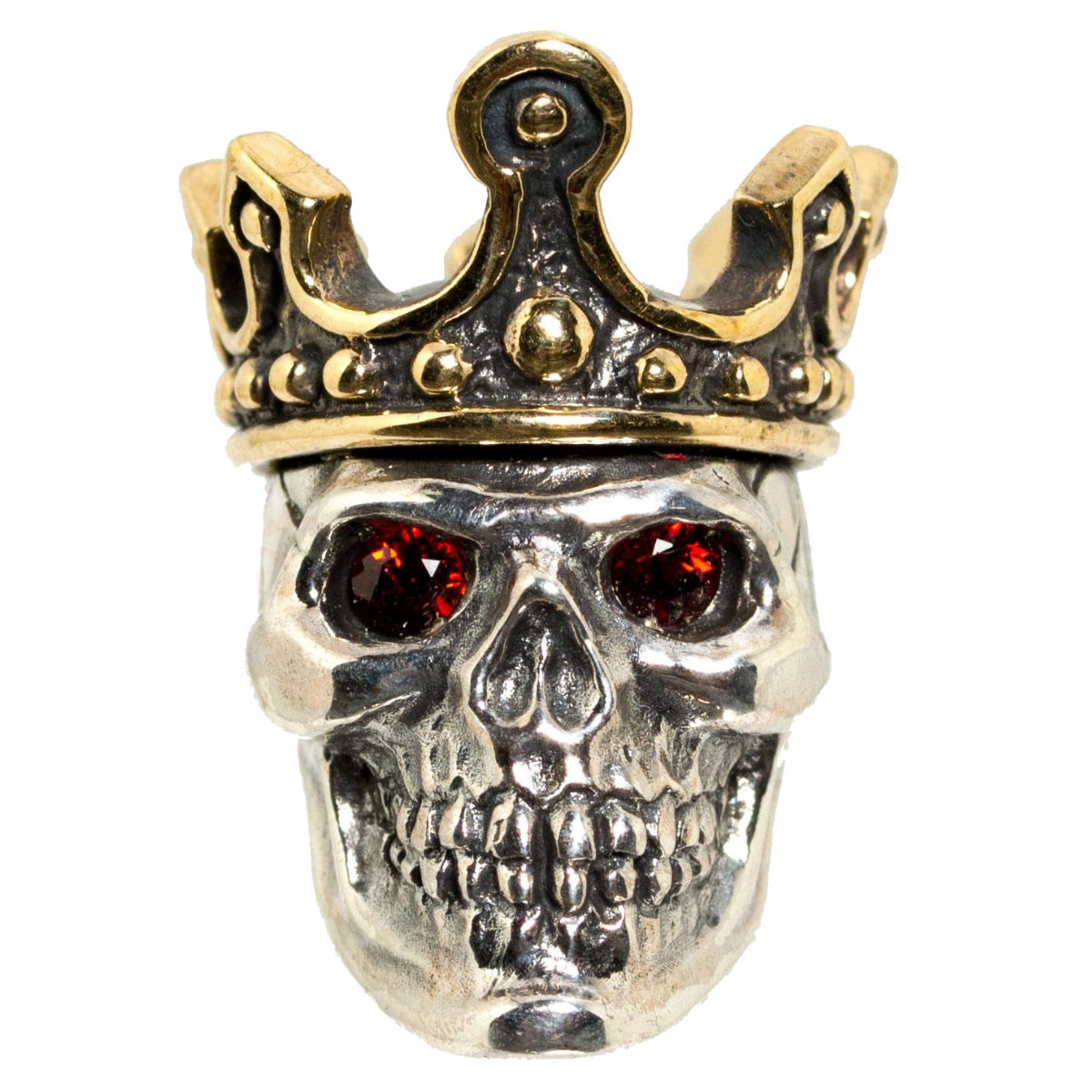 King (Large) with Red Rhinestone Eyes in .925 Sterling Silver and Bronze by GD Skulls