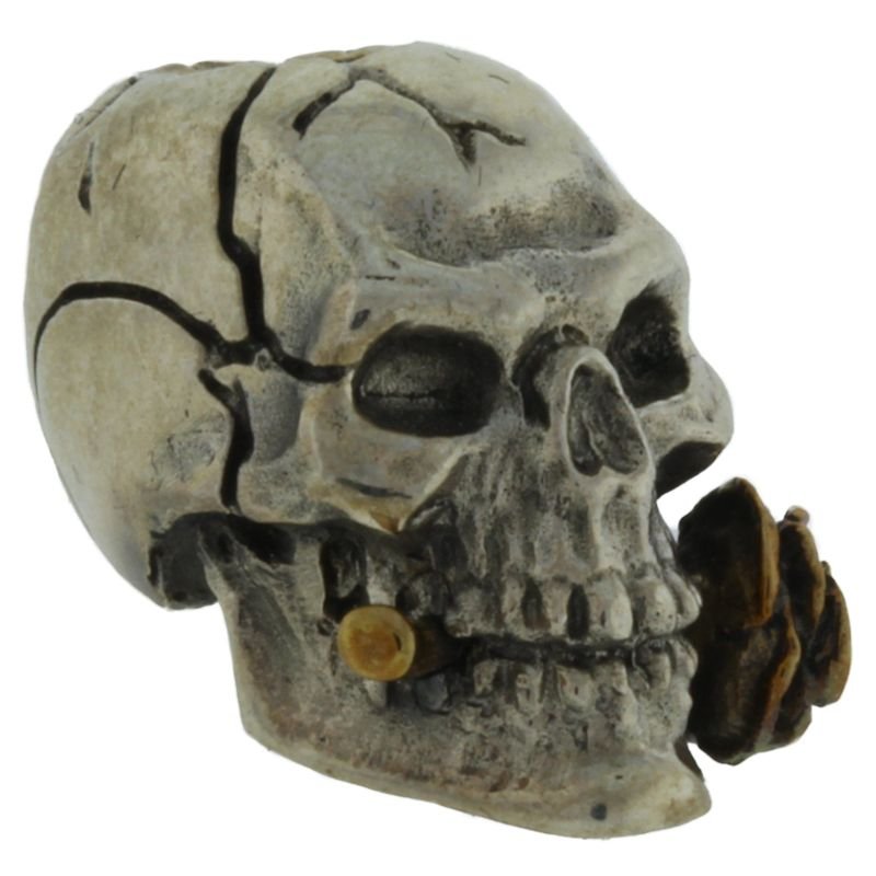 Rose Skull in .925 Sterling Silver and Bronze by GD Skulls
