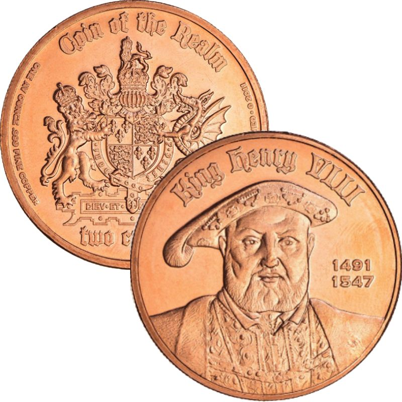 King Henry VIII 1/2 oz .999 Pure Copper Round