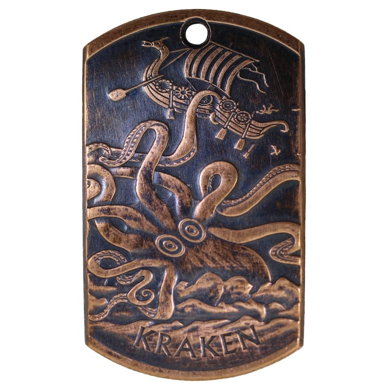 Kraken Copper Dog Tag Necklace