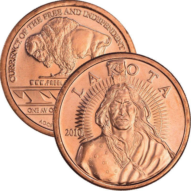 "Lakota ""Crazy Horse"" (AOCS) (2010) 1 oz .999 Pure Copper Round"