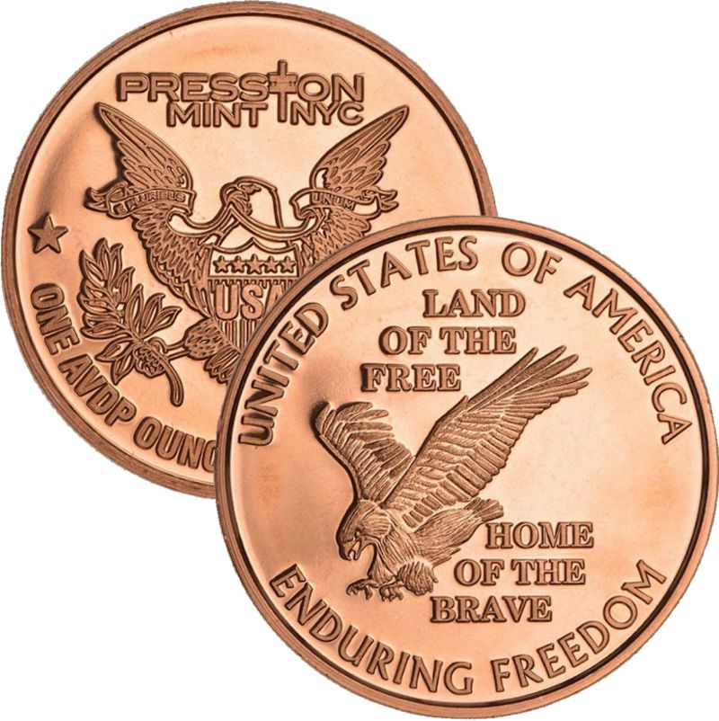 Land Of The Free (Enduring Freedom Series) 1 oz .999 Pure Copper Round (Presston Mint)