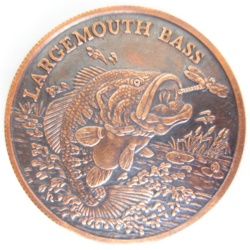 Largemouth Bass (American Wildlife Series) 1 oz .999 Pure Copper Round (Black Patina)