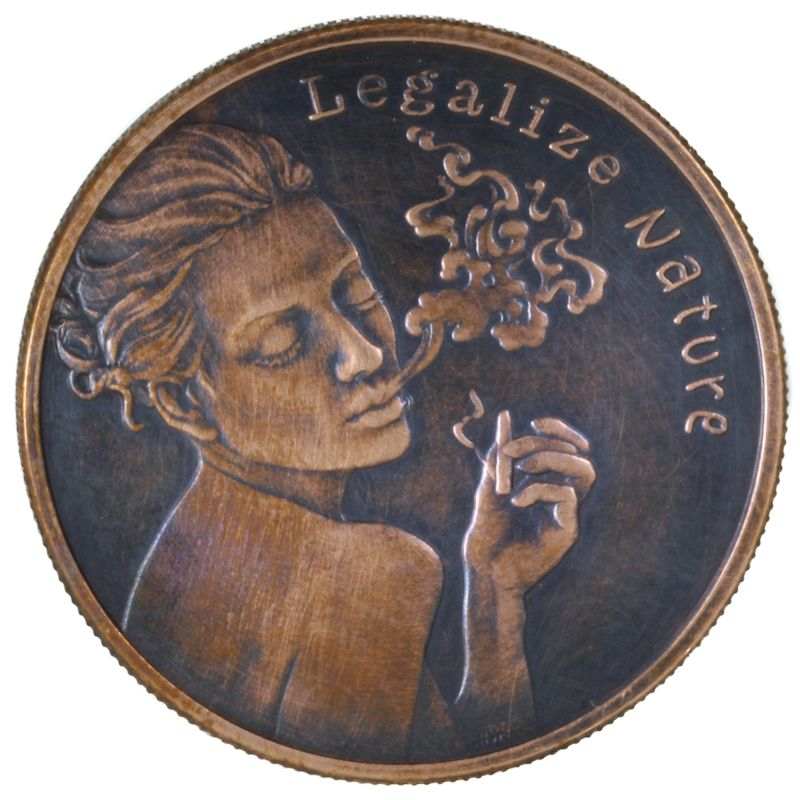 Legalize Nature 1 oz .999 Pure Copper Round (2017 Silver Shield) (Black Patina)