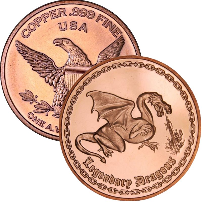Legendary Dragons 1 oz .999 Pure Copper Round
