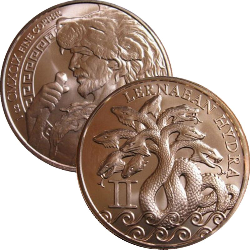 Lernaean Hydra 1 oz .999 Pure Copper Round (2nd Design of the 12 Labors of Hercules Series)