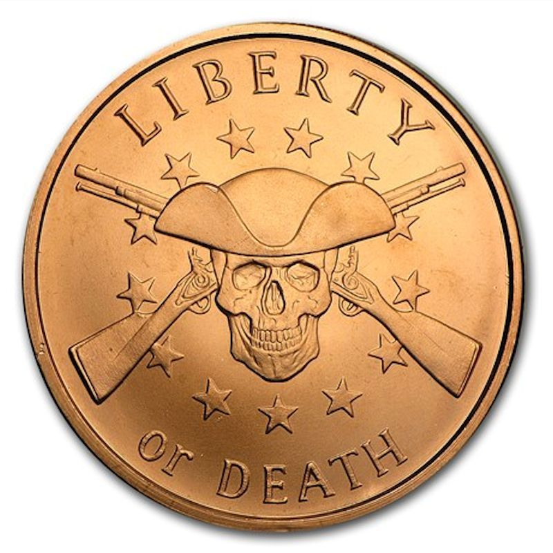 Liberty Or Death 1 oz .999 Pure Copper Round (2016 Silver Shield)